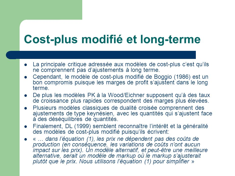 Cost-plus modifié et long-terme