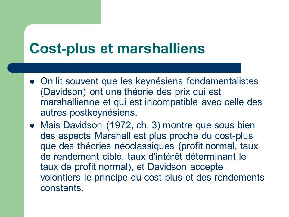 Cost-plus et marshalliens