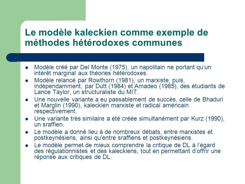 Le modèle kaleckien comme exemple de méthodes hétérodoxes communes