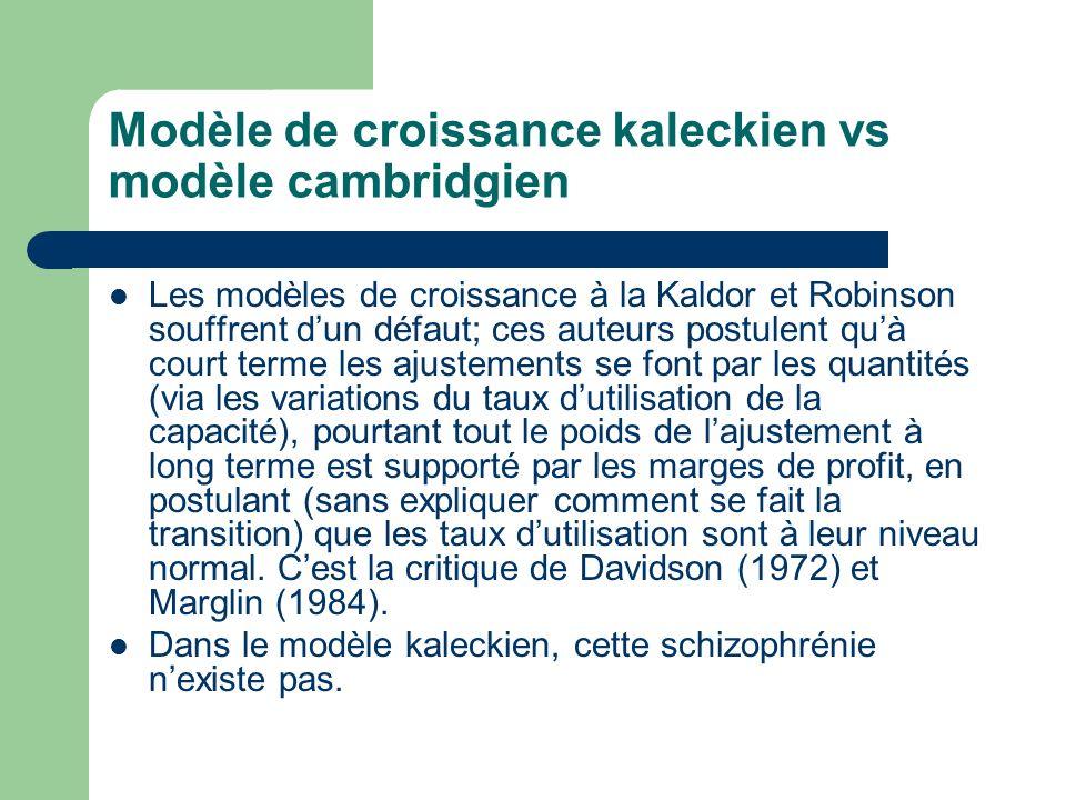 Modèle de croissance kaleckien vs modèle cambridgien