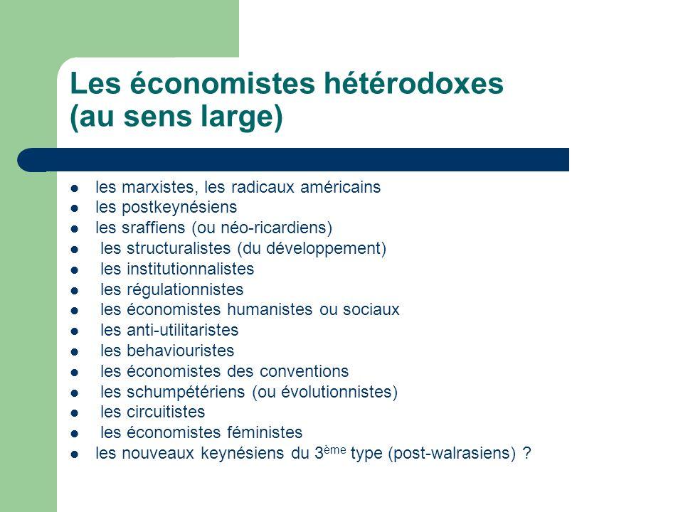 Les économistes hétérodoxes (au sens large)