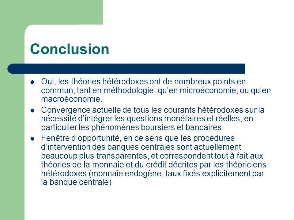 Conclusion Oui, les théories hétérodoxes ont de nombreux points en commun, tant en méthodologie, qu'en microéconomie, ou qu'en macroéconomie.