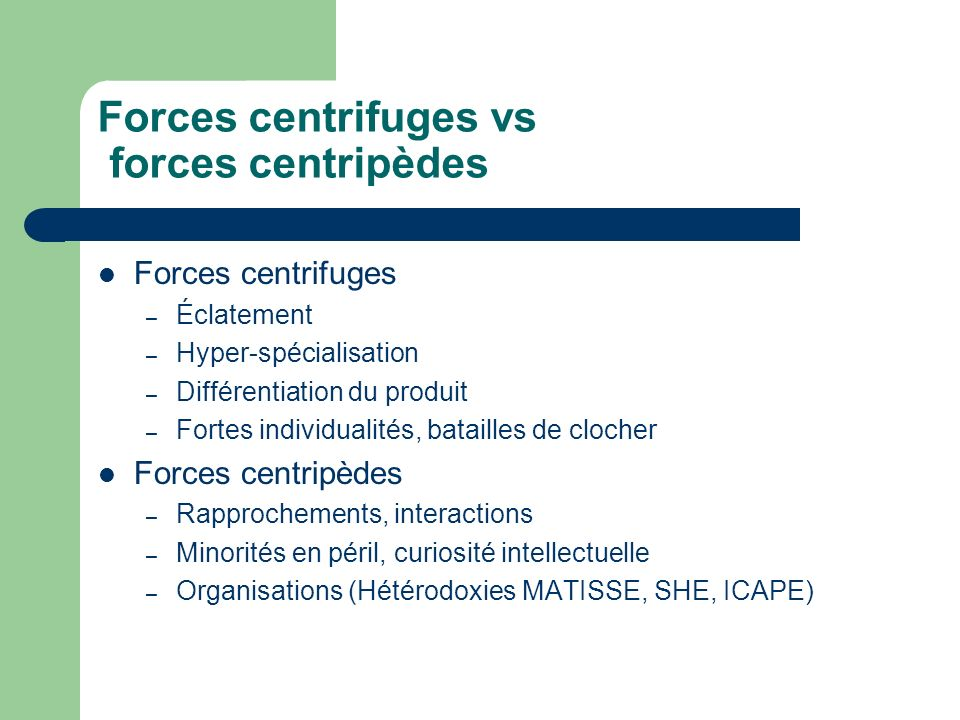 Forces centrifuges vs forces centripèdes