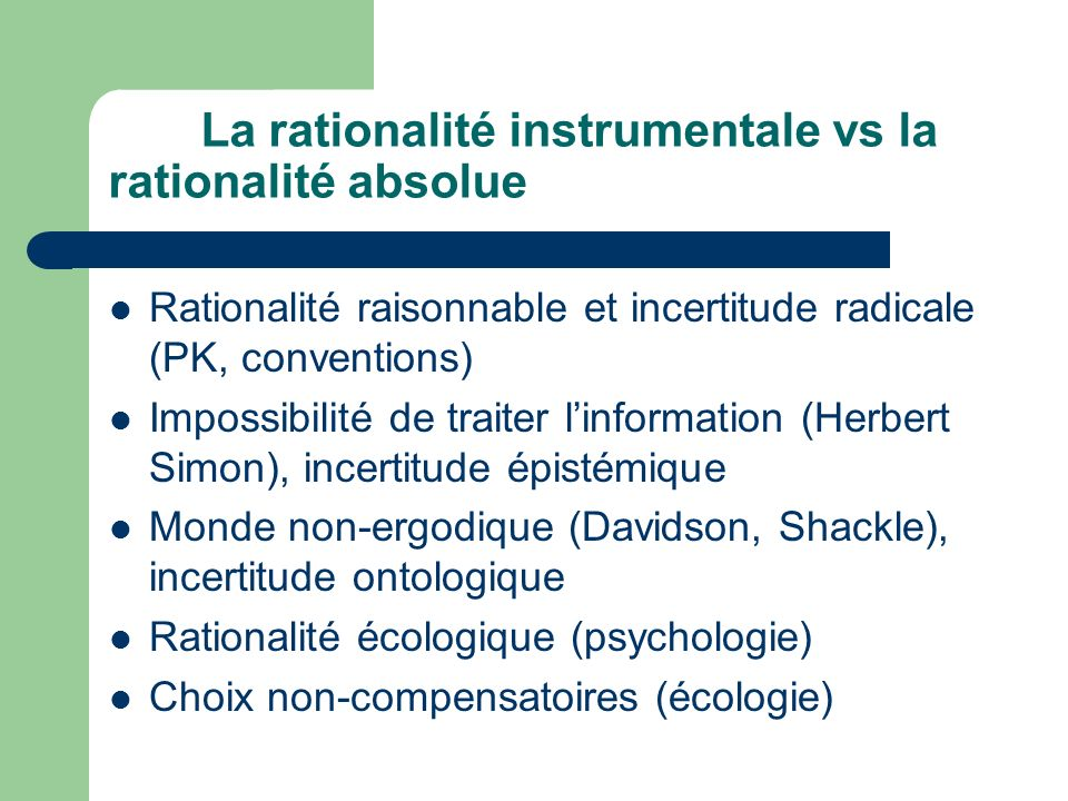 La rationalité instrumentale vs la rationalité absolue