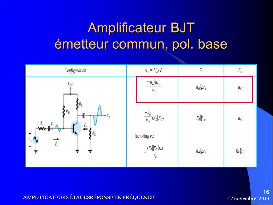 Amplificateur BJT émetteur commun, pol. base