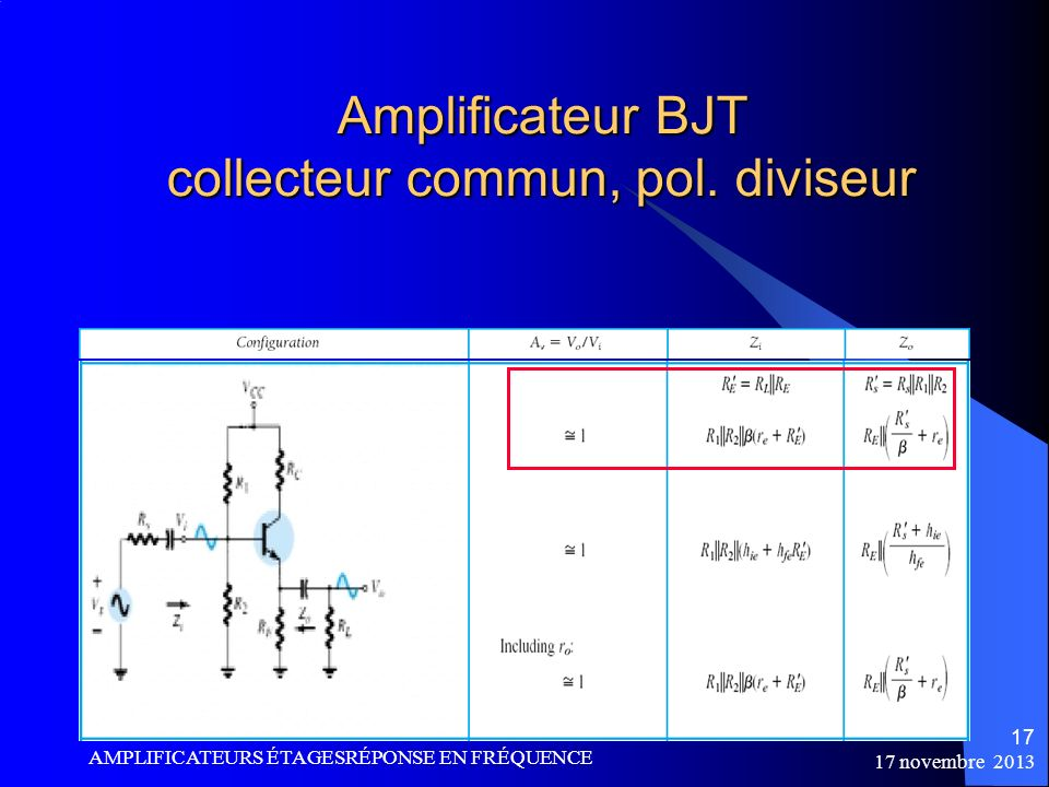 Amplificateur BJT collecteur commun, pol. diviseur