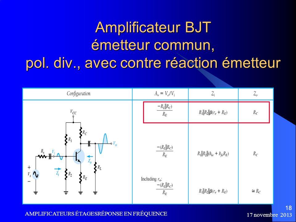 Amplificateur BJT émetteur commun, pol. div