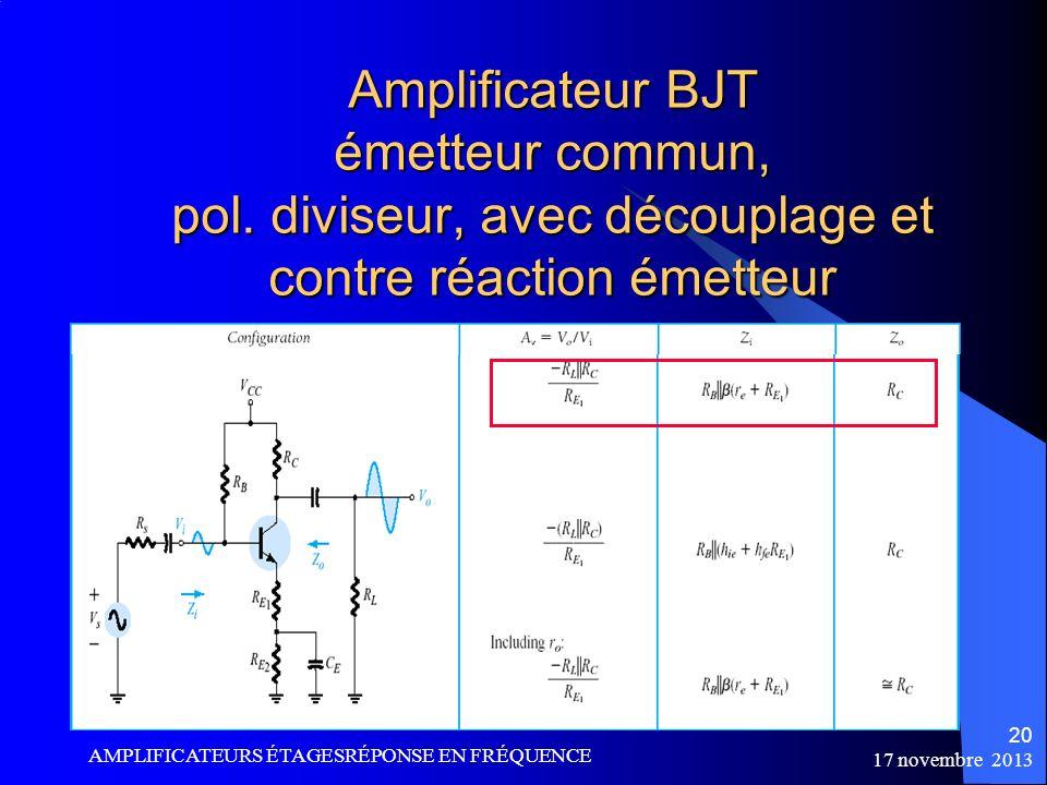 Amplificateur BJT émetteur commun, pol