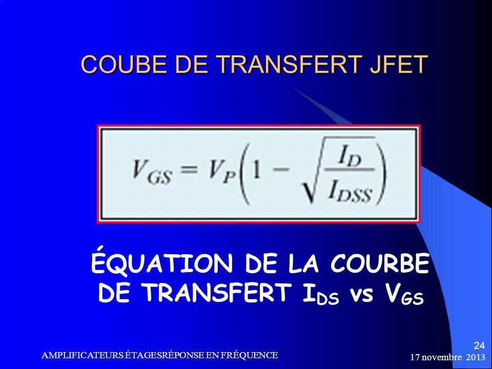 COUBE DE TRANSFERT JFET