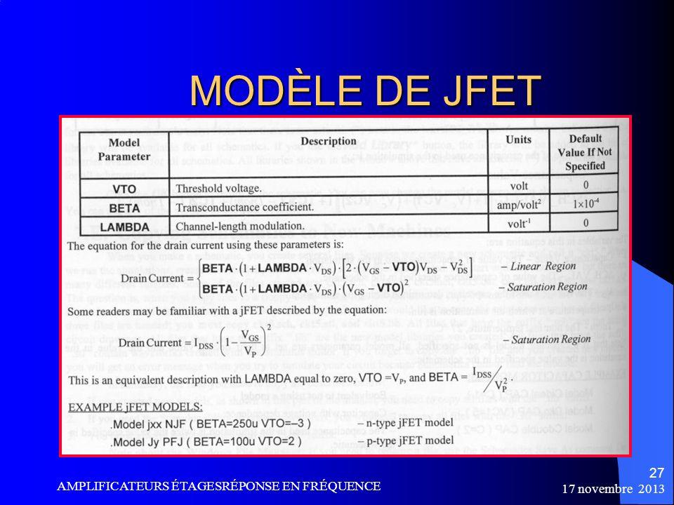 MODÈLE DE JFET AMPLIFICATEURS ÉTAGESRÉPONSE EN FRÉQUENCE