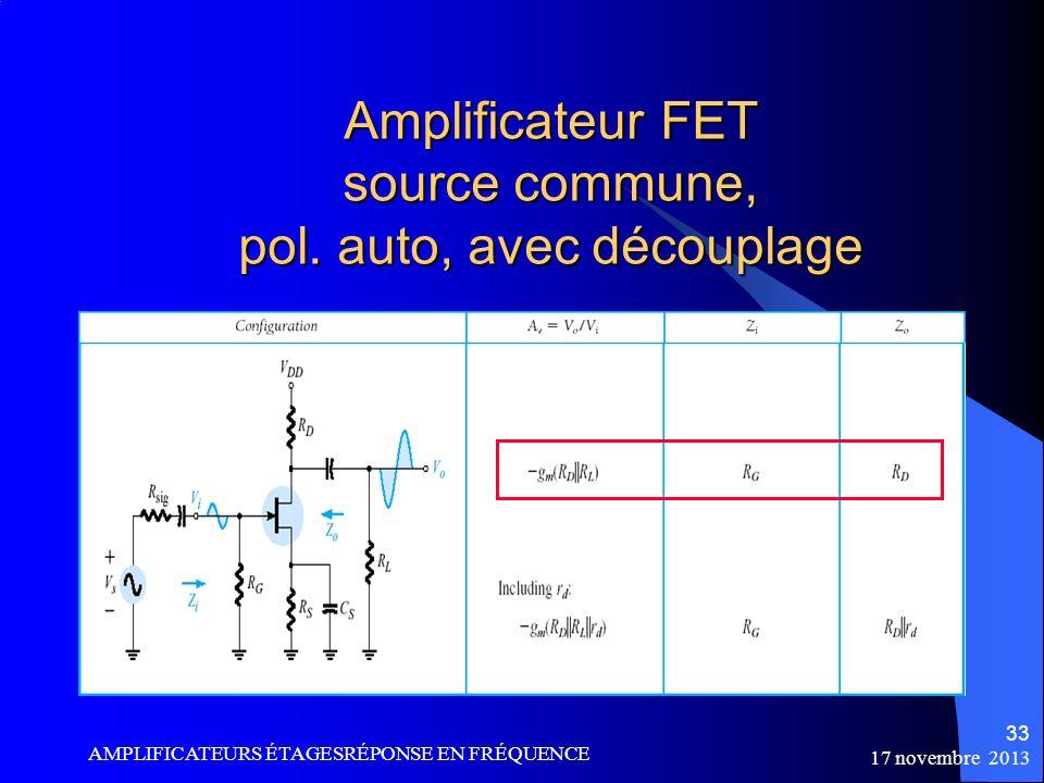Amplificateur FET source commune, pol. auto, avec découplage