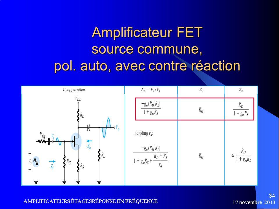 Amplificateur FET source commune, pol. auto, avec contre réaction
