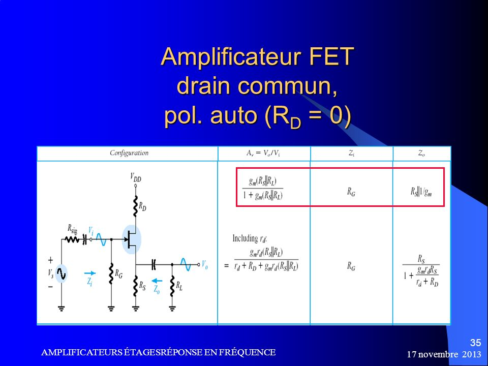 Amplificateur FET drain commun, pol. auto (RD = 0)