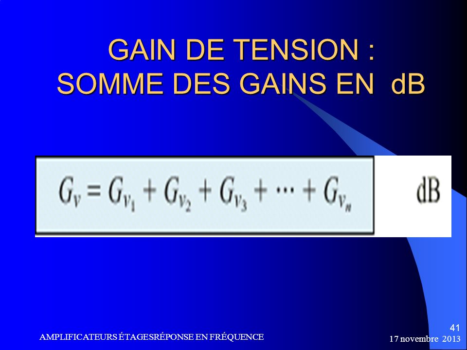 GAIN DE TENSION : SOMME DES GAINS EN dB