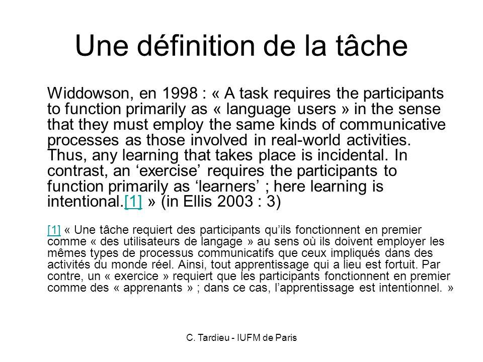 Une définition de la tâche