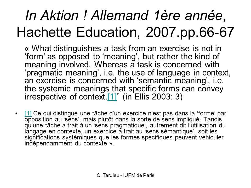In Aktion ! Allemand 1ère année, Hachette Education, 2007.pp.66-67