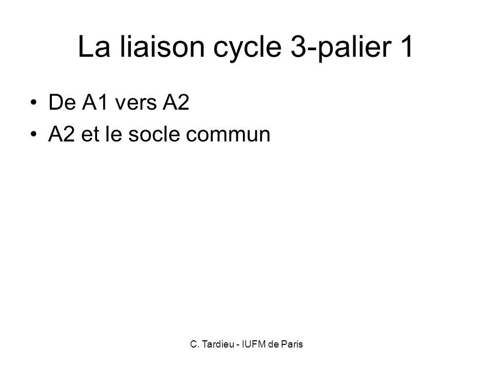 La liaison cycle 3-palier 1