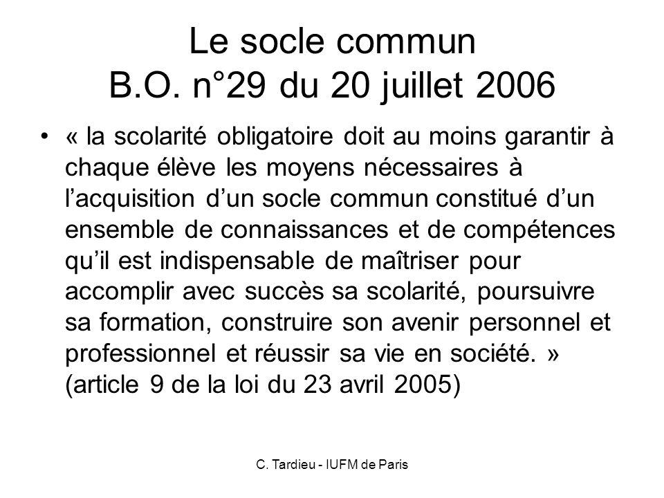 Le socle commun B.O. n°29 du 20 juillet 2006
