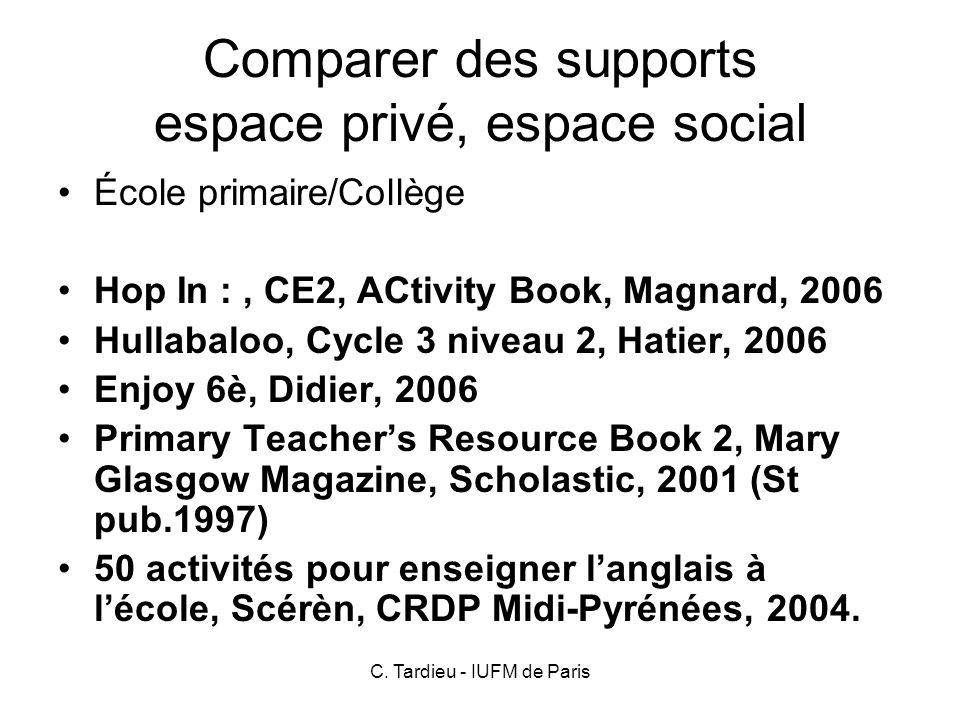 Comparer des supports espace privé, espace social