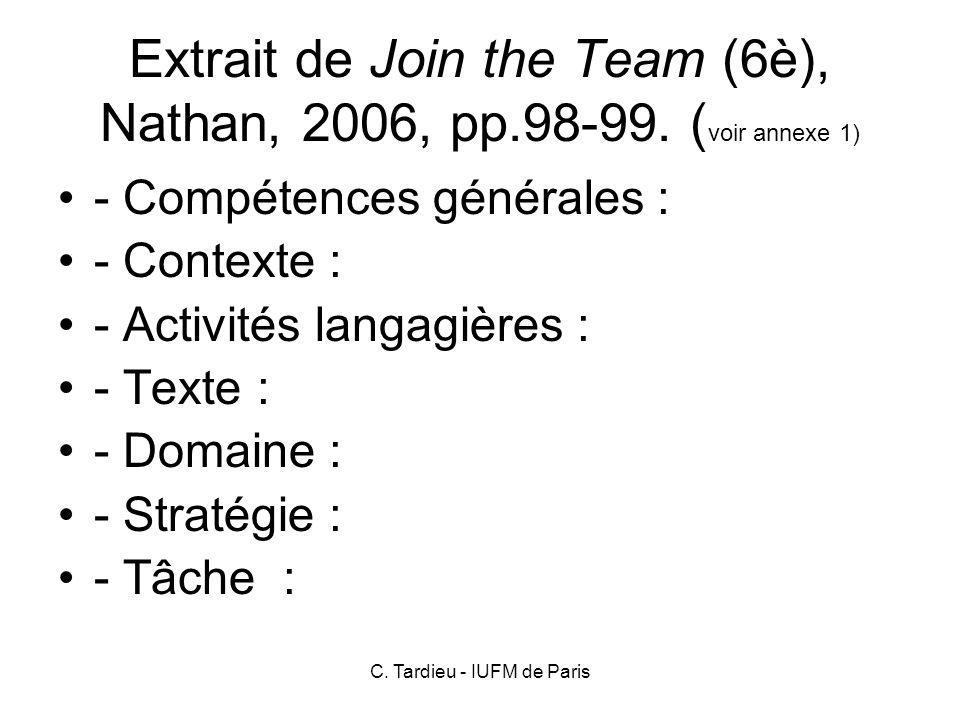 Extrait de Join the Team (6è), Nathan, 2006, pp.98-99. (voir annexe 1)