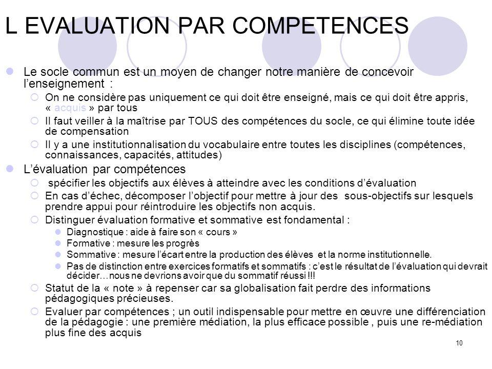 L EVALUATION PAR COMPETENCES