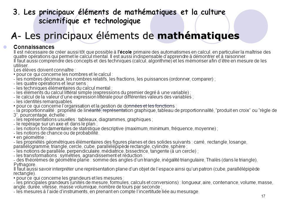 A- Les principaux éléments de mathématiques