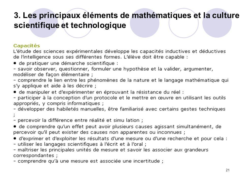 3. Les principaux éléments de mathématiques et la culture