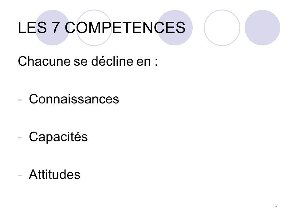 LES 7 COMPETENCES Chacune se décline en : Connaissances Capacités