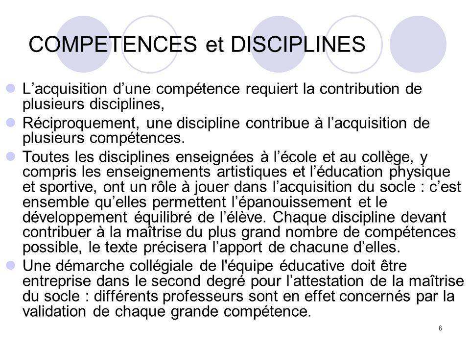 COMPETENCES et DISCIPLINES
