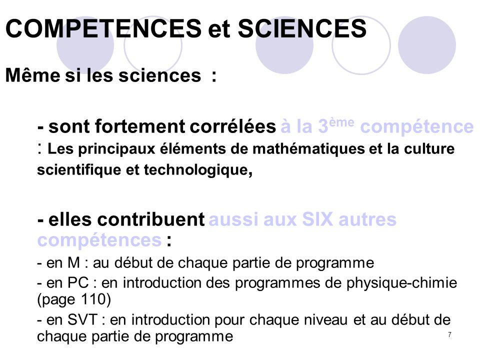 COMPETENCES et SCIENCES