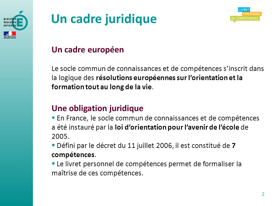 Un cadre juridique Un cadre européen Une obligation juridique