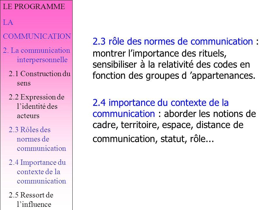 LE PROGRAMME LA. COMMUNICATION. 2. La communication interpersonnelle. 2.1 Construction du sens. 2.2 Expression de l'identité des acteurs.