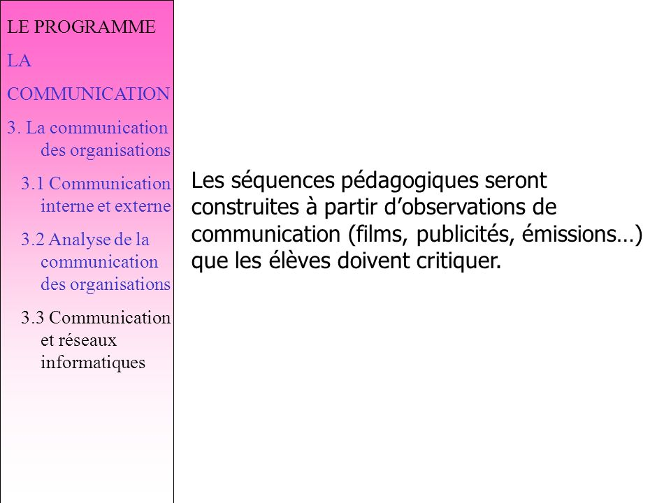 LE PROGRAMME LA. COMMUNICATION. 3. La communication des organisations. 3.1 Communication interne et externe.