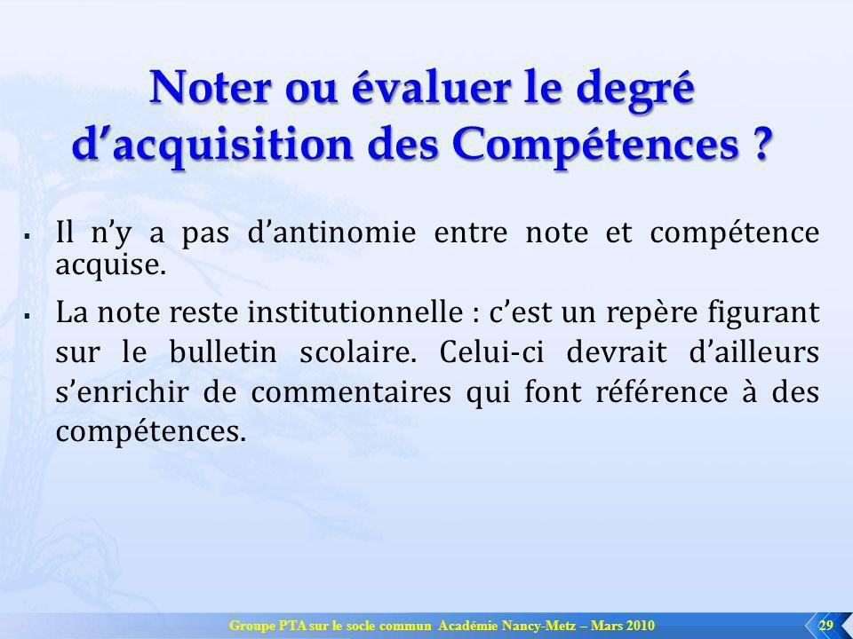 Noter ou évaluer le degré d'acquisition des Compétences
