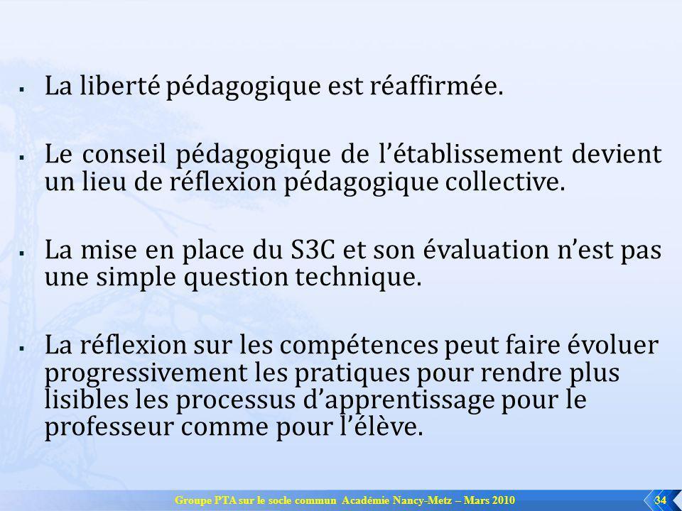 Groupe PTA sur le socle commun Académie Nancy-Metz – Mars 2010