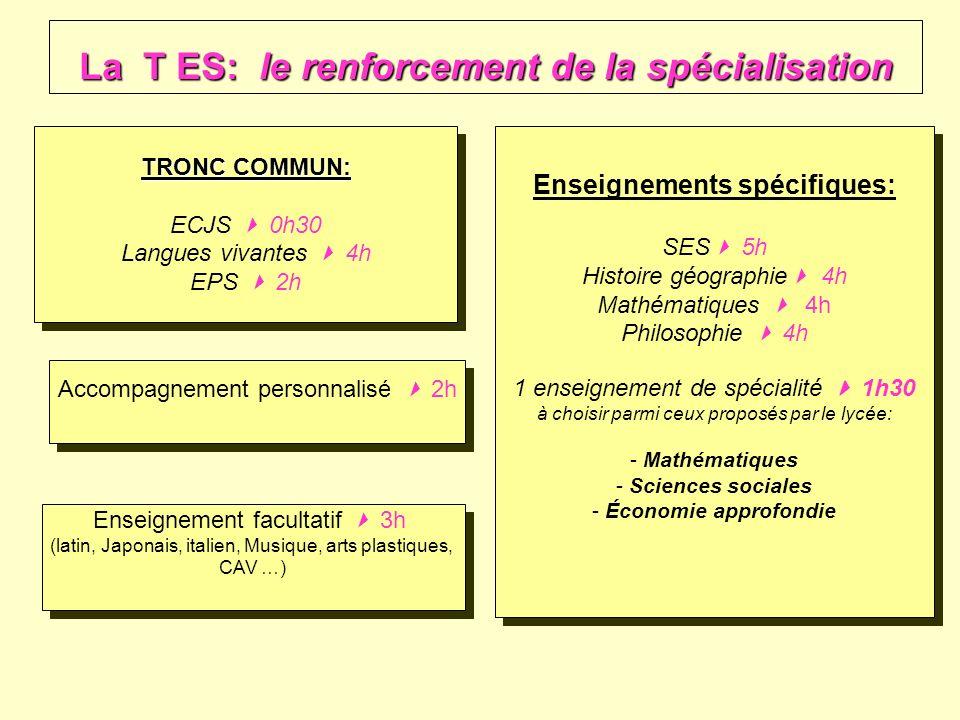 La T ES: le renforcement de la spécialisation