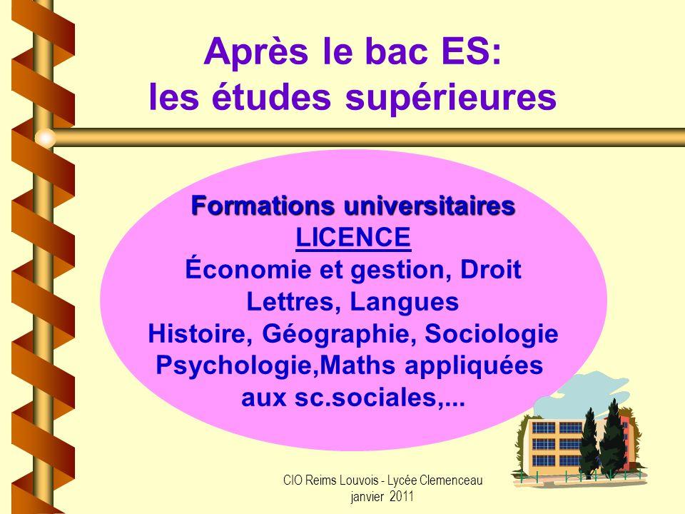 Après le bac ES: les études supérieures