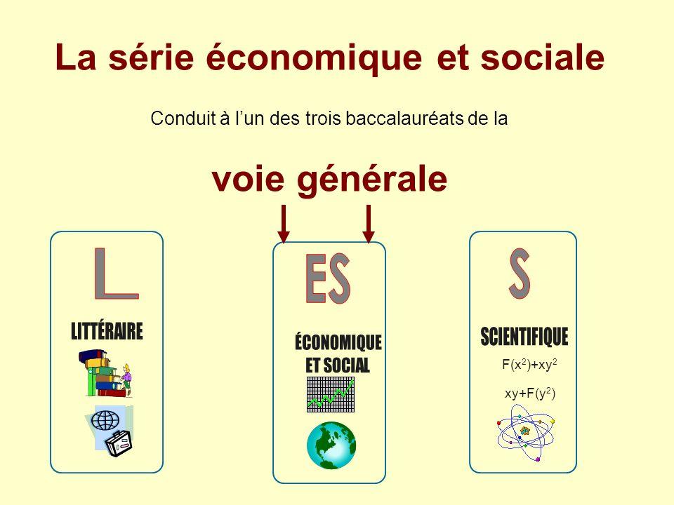 L S ES La série économique et sociale voie générale ES