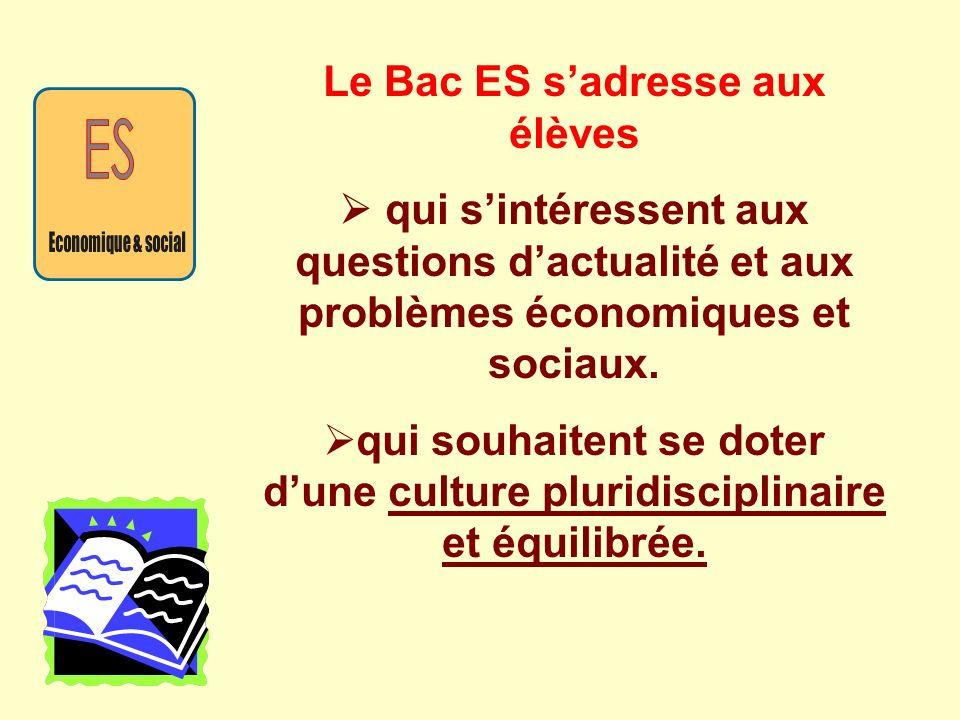 Le Bac ES s'adresse aux élèves