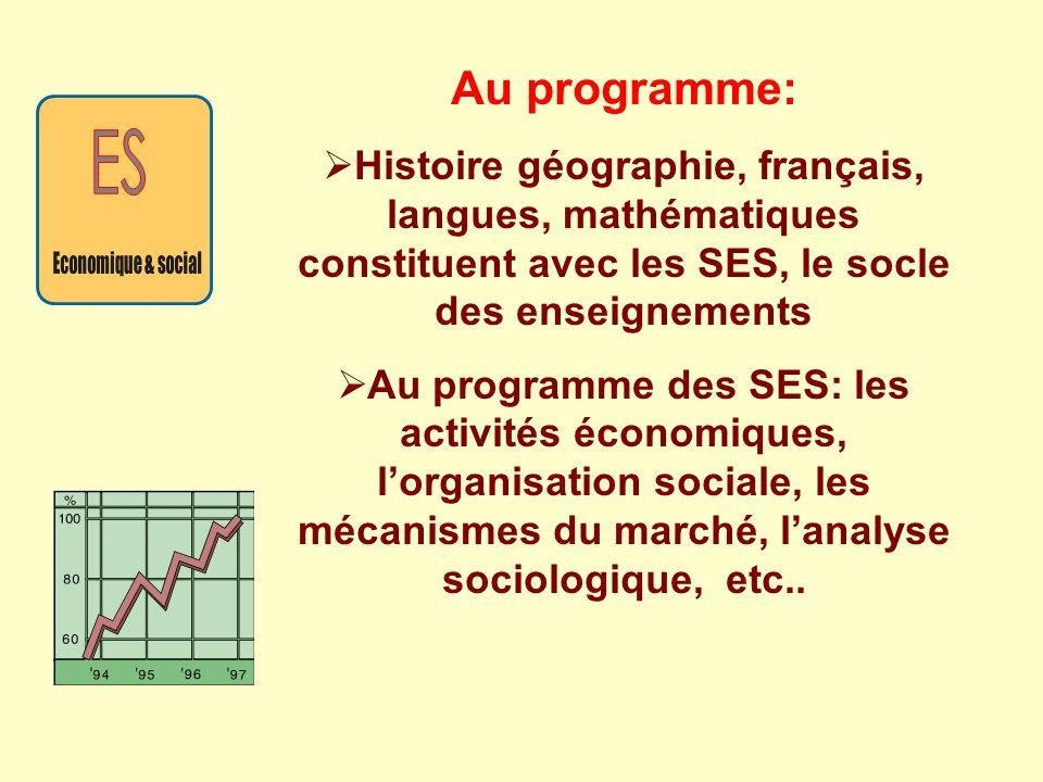 Au programme: Histoire géographie, français, langues, mathématiques constituent avec les SES, le socle des enseignements.