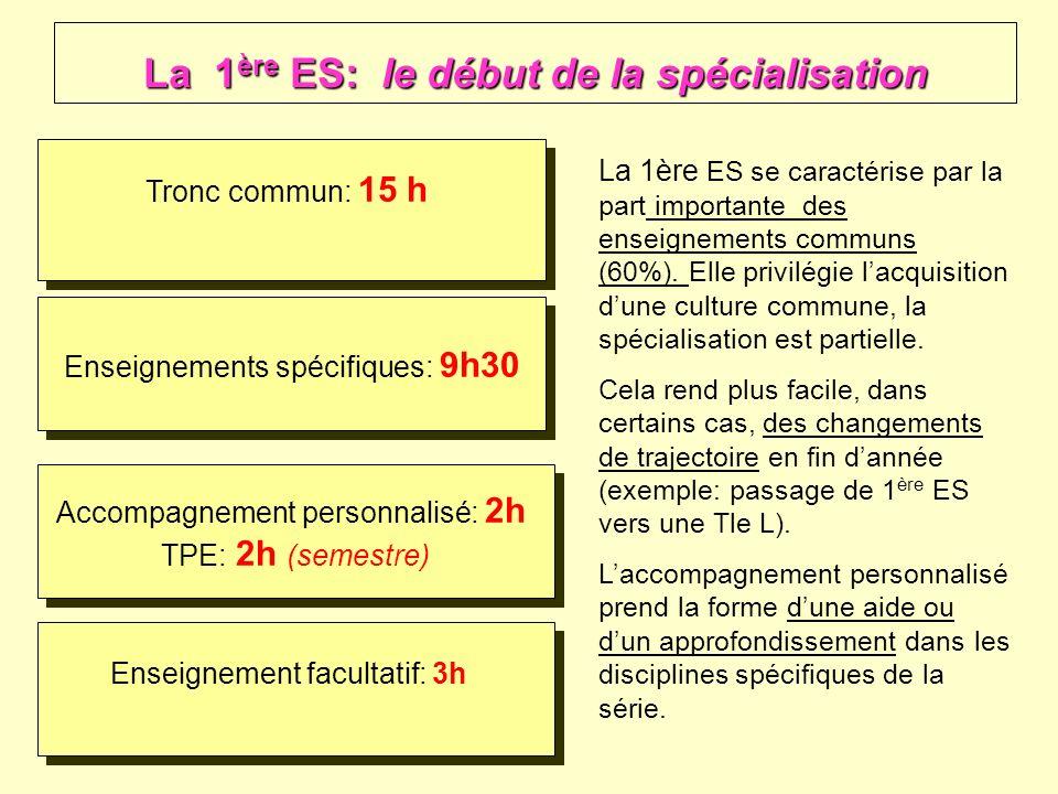 La 1ère ES: le début de la spécialisation