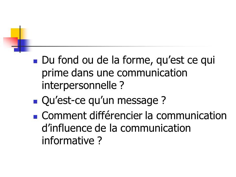 Du fond ou de la forme, qu'est ce qui prime dans une communication interpersonnelle
