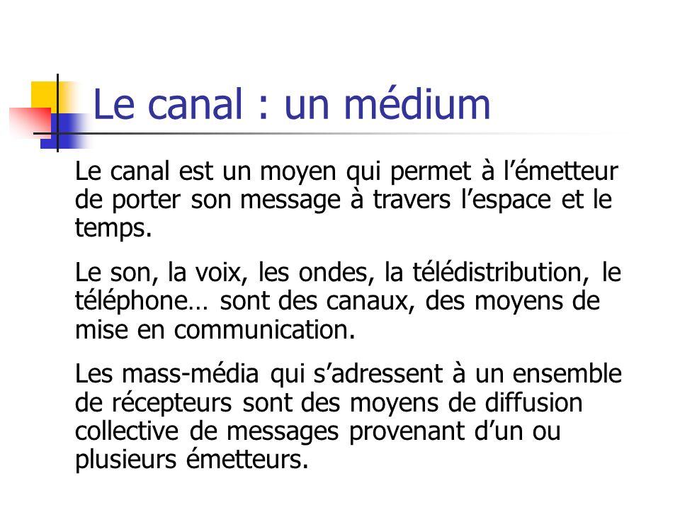 Le canal : un médium Le canal est un moyen qui permet à l'émetteur de porter son message à travers l'espace et le temps.