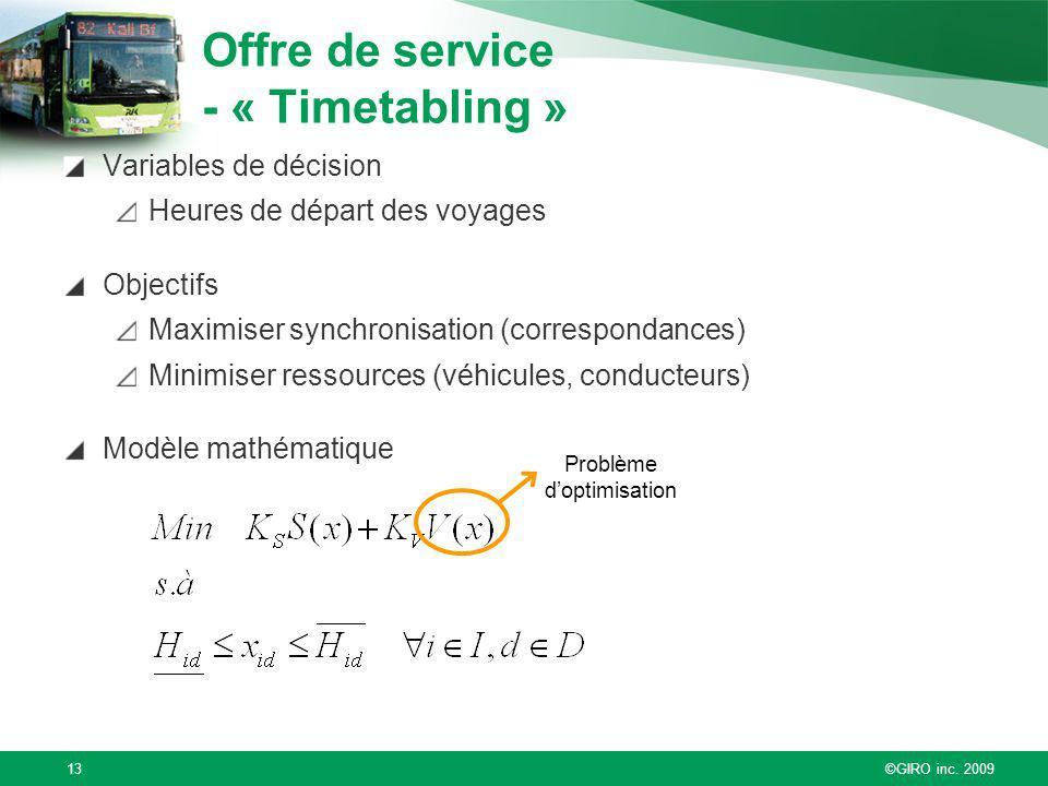 Offre de service - « Timetabling »