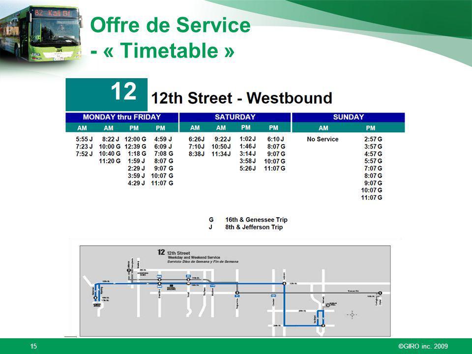 Offre de Service - « Timetable »