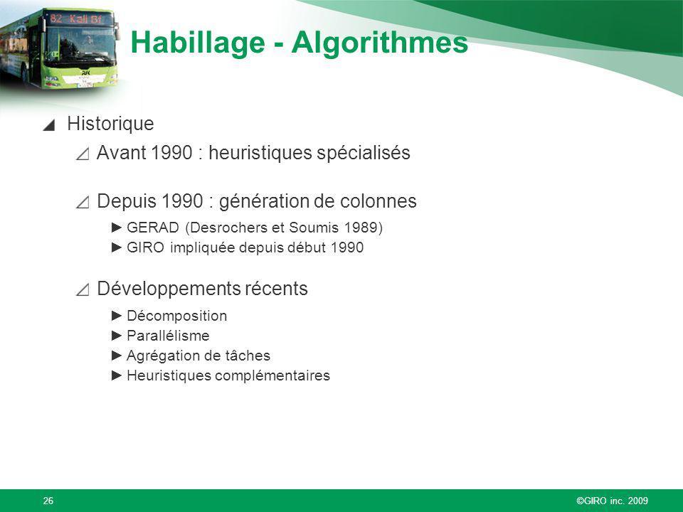 Habillage - Algorithmes
