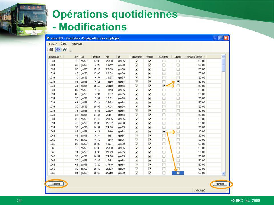 Opérations quotidiennes - Modifications