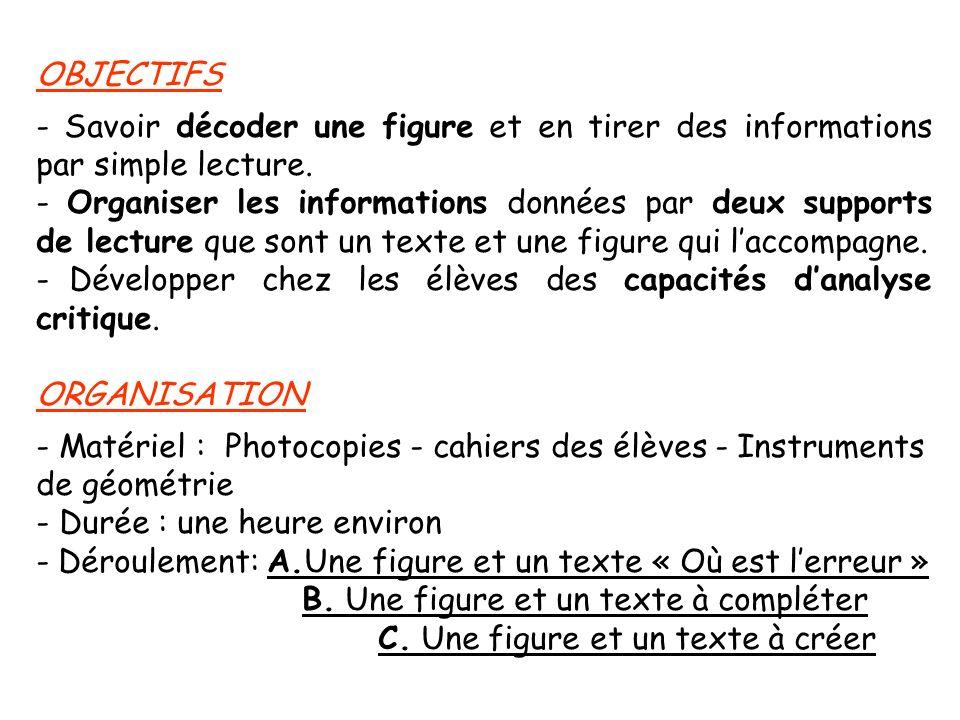 OBJECTIFS - Savoir décoder une figure et en tirer des informations par simple lecture.