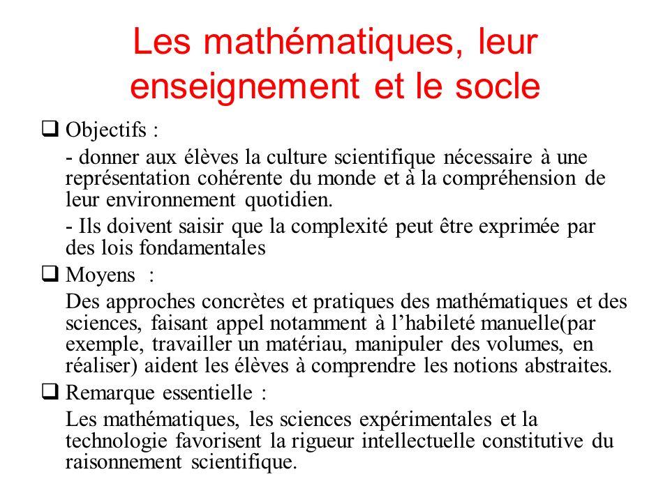 Les mathématiques, leur enseignement et le socle