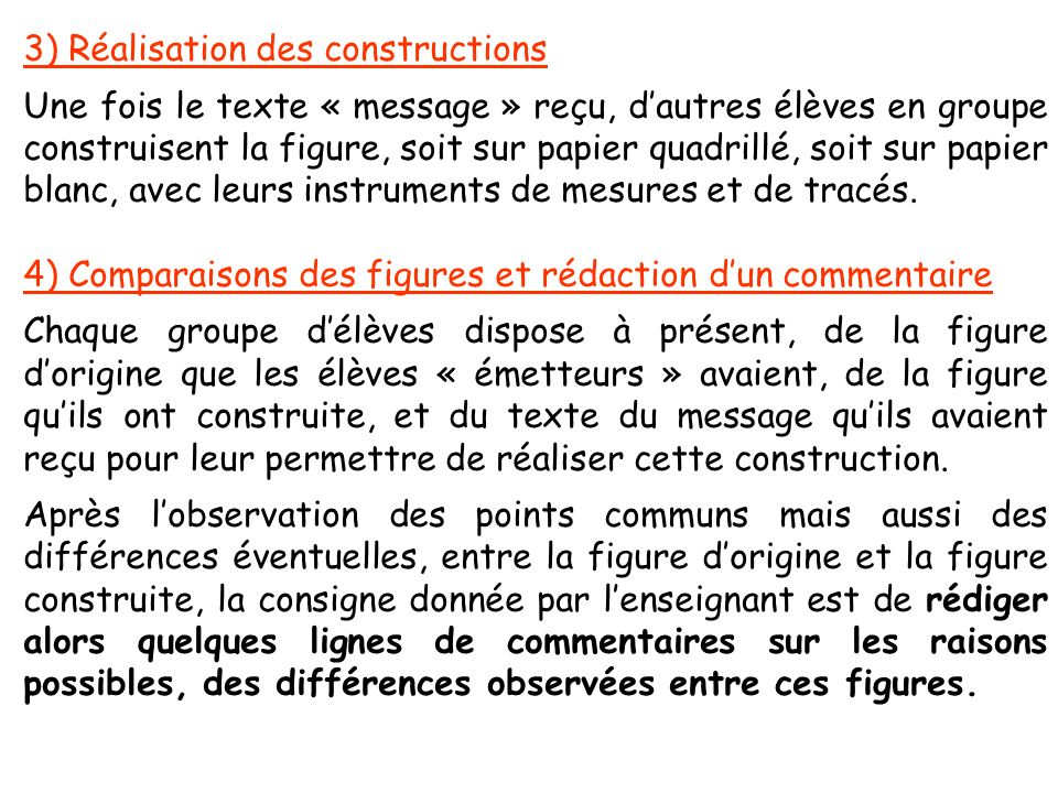 3) Réalisation des constructions